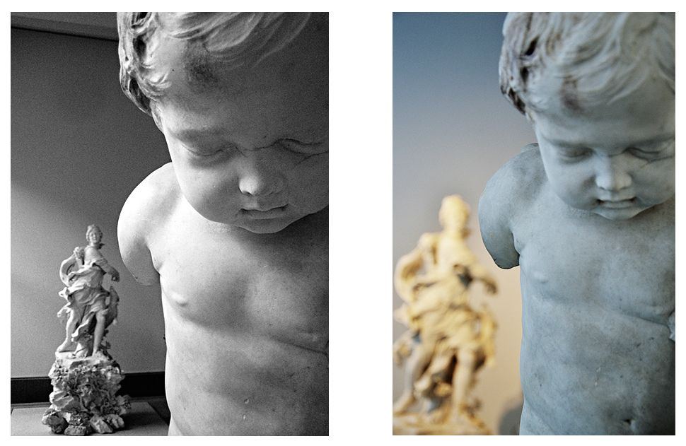 François Duquesnoy, Bogenschnitzender Amor, vor 1629. Aufnahmen im Großen Marmorsaal des Bode-Museums von 2006 und 2010. Fotos: Fabian Fröhlich