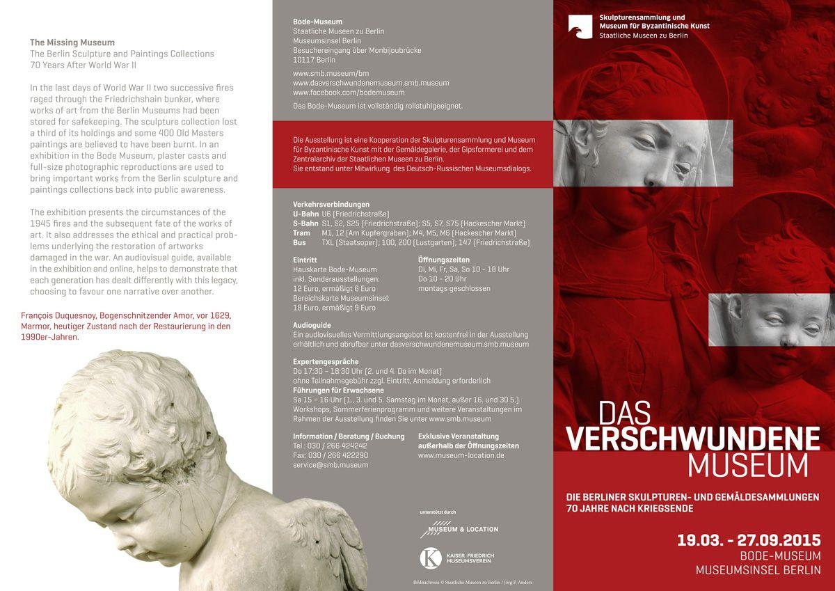 """Außenseite des Folders zur Ausstellung """"Das verschwundene Museum"""""""