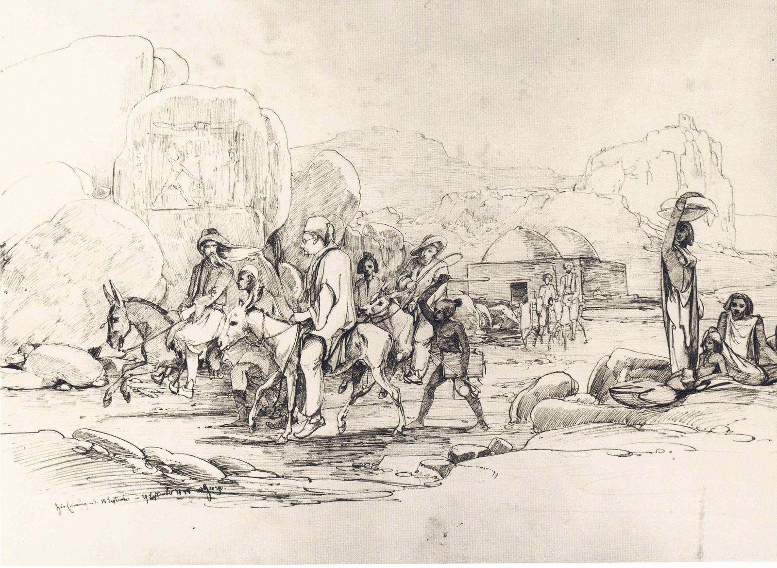 Lepsius (im Vordergrund mit Tarbusch) auf einem Esel reitend bei Assuan am 29. September 1844, Originalzeichnung von F. O. Georgi. © Staatliche Museen zu Berlin, Ägyptisches Museum und Papyrussammlung / Margarete Büsing