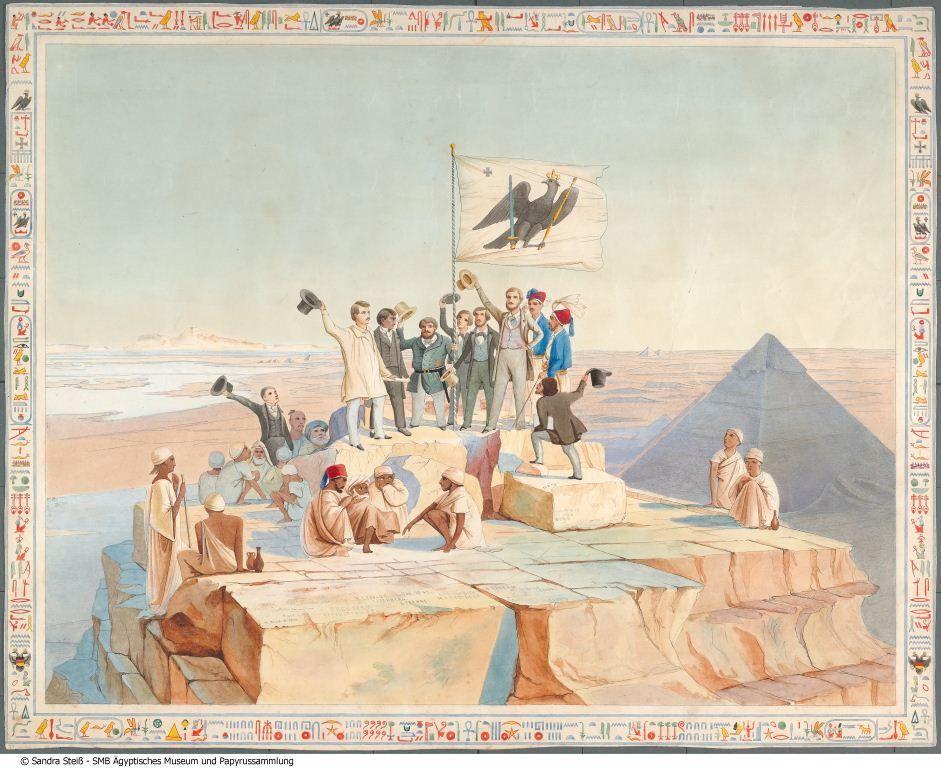 Die Teilnehmer der Preußischen Expedition auf der Spitze der Cheopspyramide. Kolorierter Stich nach einer Zeichnung von E. Weidenbach. © Staatliche Museen zu Berlin, Ägyptisches Museum und Papyrussammlung / Sandra Steiß