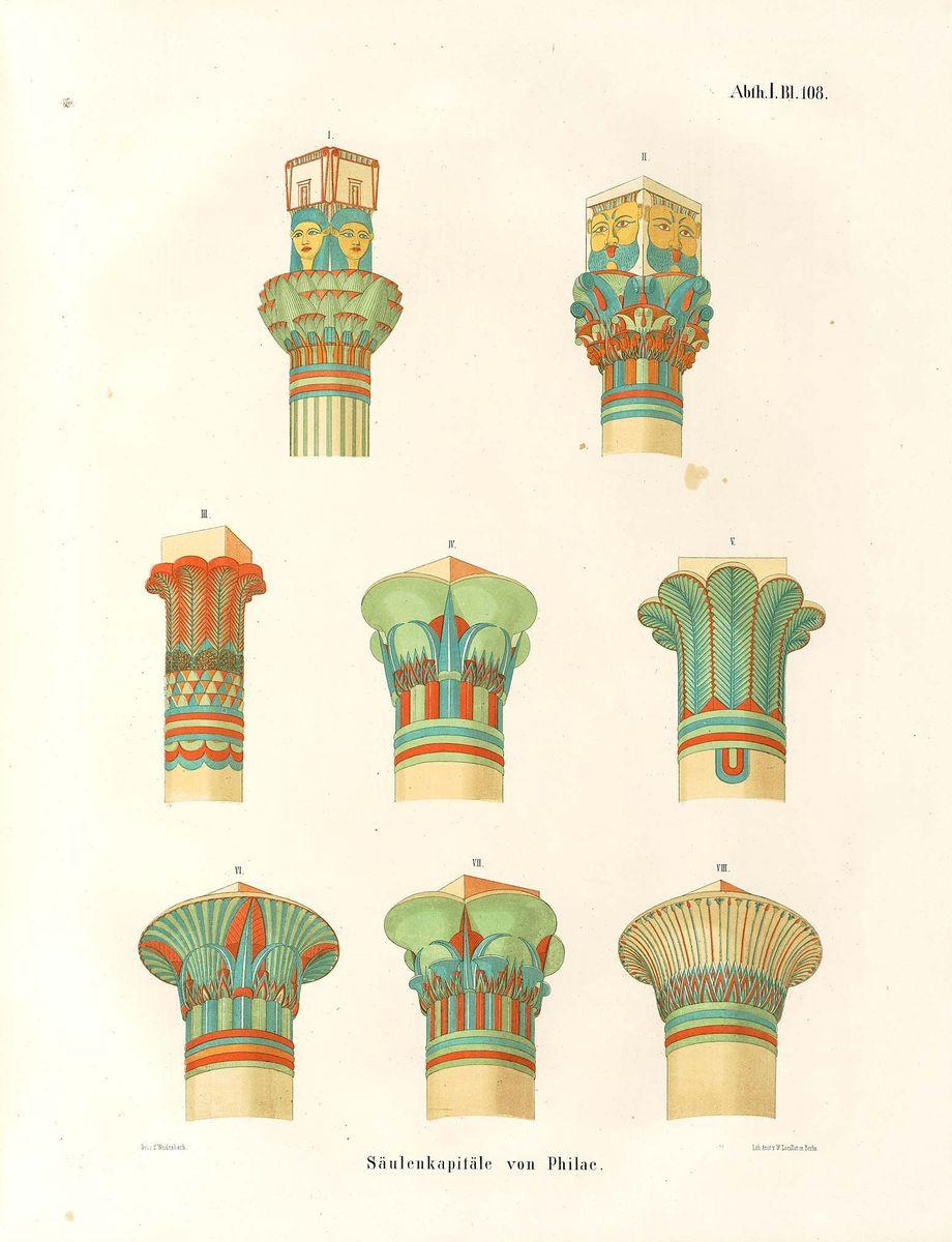 Säulenkapitelle von Philae, aus: Lepsius, Denkmaeler aus Aegypten und Aethiopien, Abteilung1 Band 2 Blatt 108. © Staatliche Museen zu Berlin, Ägyptisches Museum und Papyrussammlung