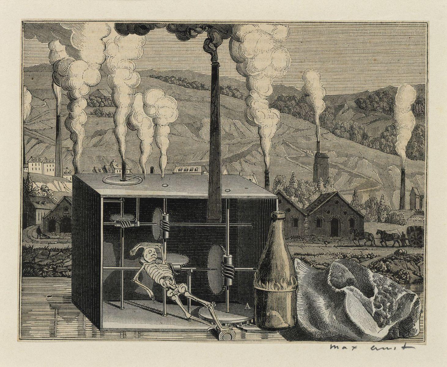 """Max Ernst: Illustrationsvorlage zu Hans Arps """"Weißt du schwarzt du"""", 1929 © bpk/Nationalgalerie SMB, Sammlung Scharf-Gerstenberg. Foto: Volker-H. Schneider"""