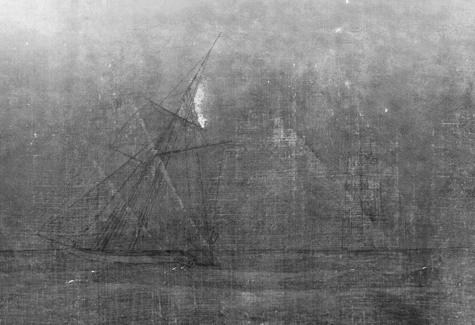 Caspar David Friedrich, Mönch am Meer, Infrarotaufnahme; Detail Staatliche Museen zu Berlin, Nationalgalerie / Foto: Kristina Mösl, Francesca Schneider