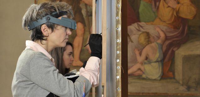 Casa Bartholdy-Saal in der Alten Nationalgalerie während der Retuschearbeiten Staatliche Museen zu Berlin, Nationalgalerie / Foto: Andres Kilger