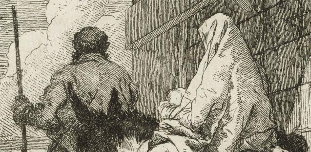 Giandomenico Tiepolo: Die Heilige Familie passiert einen Torbogen (Detail) © Staatliche Museen zu Berlin, Kupferstichkabinett / Dietmar Katz