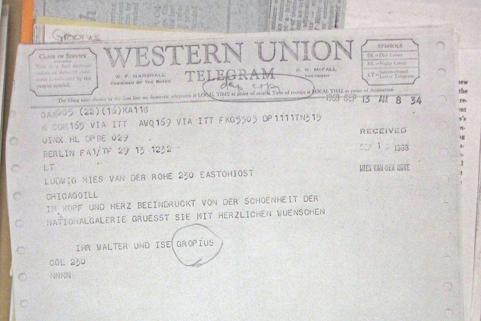 Ein Telegramm unter Architektur-Weltstars: Walter Gropius gratuliert Ludwig Mies van der Rohe zur Neuen Nationalgalerie