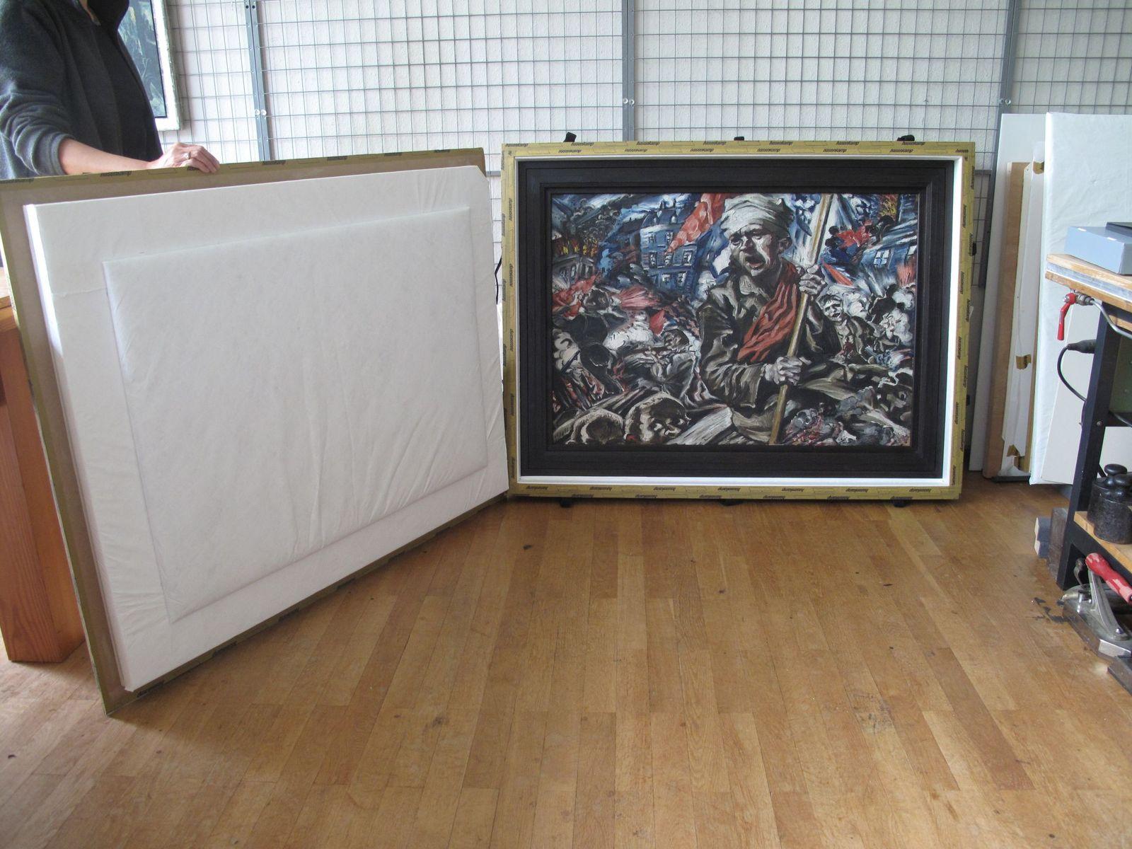 Die Sandwich-Verpackung für das Gemälde von Ludwig Meidner. Foto: schmedding.vonmarlin.