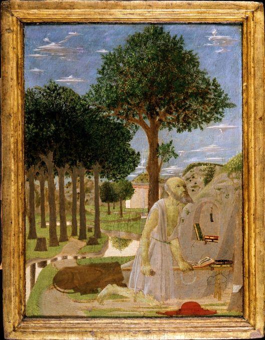 Piero della Francesca, Landschaft mit dem büßenden heiligen Hieronymus, 1450 © Foto: Gemäldegalerie der Staatlichen Museen zu Berlin - Preußischer Kulturbesitz: Jörg P. Anders