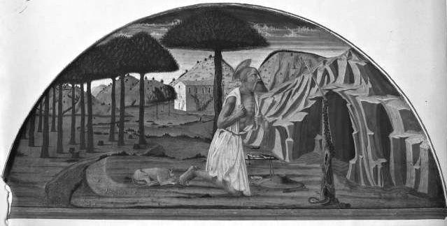 Nicola di Maestro Antonio d'Ancona, Landschaft mit dem büßenden heiligen Hieronymus, Turin, Gallery Sabauda (Artwork in the public domain)