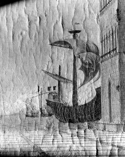 Streiflichtaufnahmen in Schwarz-Weiß: Detail des rechten Mittelgrundes und Detail des linken Gebäudes mit Spuren geritzter Rundbögen © Foto: Gemäldegalerie der Staatlichen Museen zu Berlin – Preußischer Kulturbesitz
