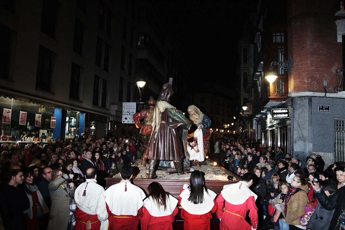 General Procession of Holy Friday. The Paso Camino del Calvario marching in processión across Valladolid from San Andrés Church to Plaza Mayor and the surroundings of the Cathedral.