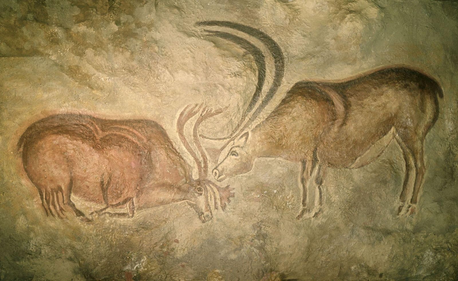 Nachbildung einer Höhlenmalerei mit Rentieren aus der Höhle von Font le Gaume, Les Eyzies, Dordogne, Frankreich; um 12 000 - 11 000 v. Chr., mittleres Magdalénien (c) bpk / Museum für Vor- und Frühgeschichte, SMB / Jürgen Liepe