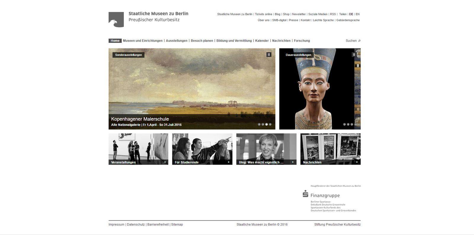 Screenshot der alten Homepage der Staatlichen Museen zu Berlin