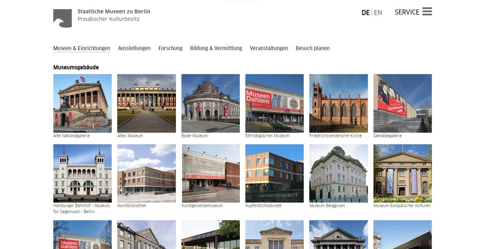 Screenshot der Seite Museumsgebäude