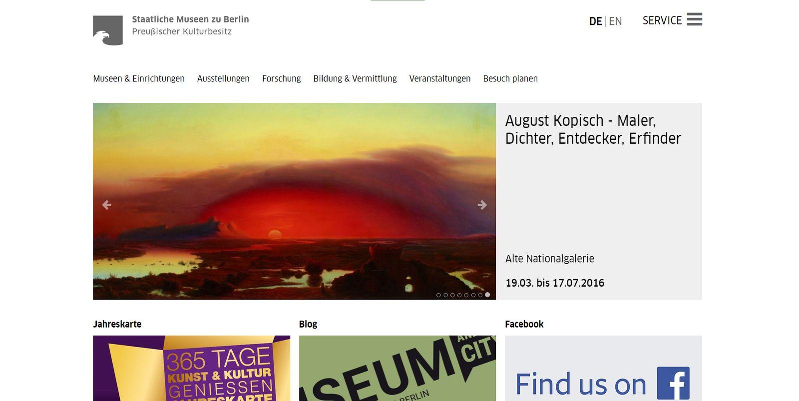 Screenshot der neuen Homepage der Staatlichen Museen zu Berlin