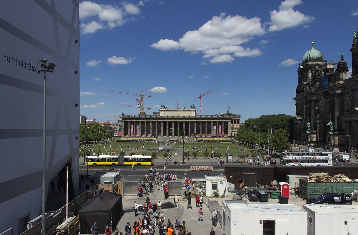 Tag der offenen Baustelle im Berliner Schloss 2016: Blick vom ersten Obergeschoss auf das Alte Museum