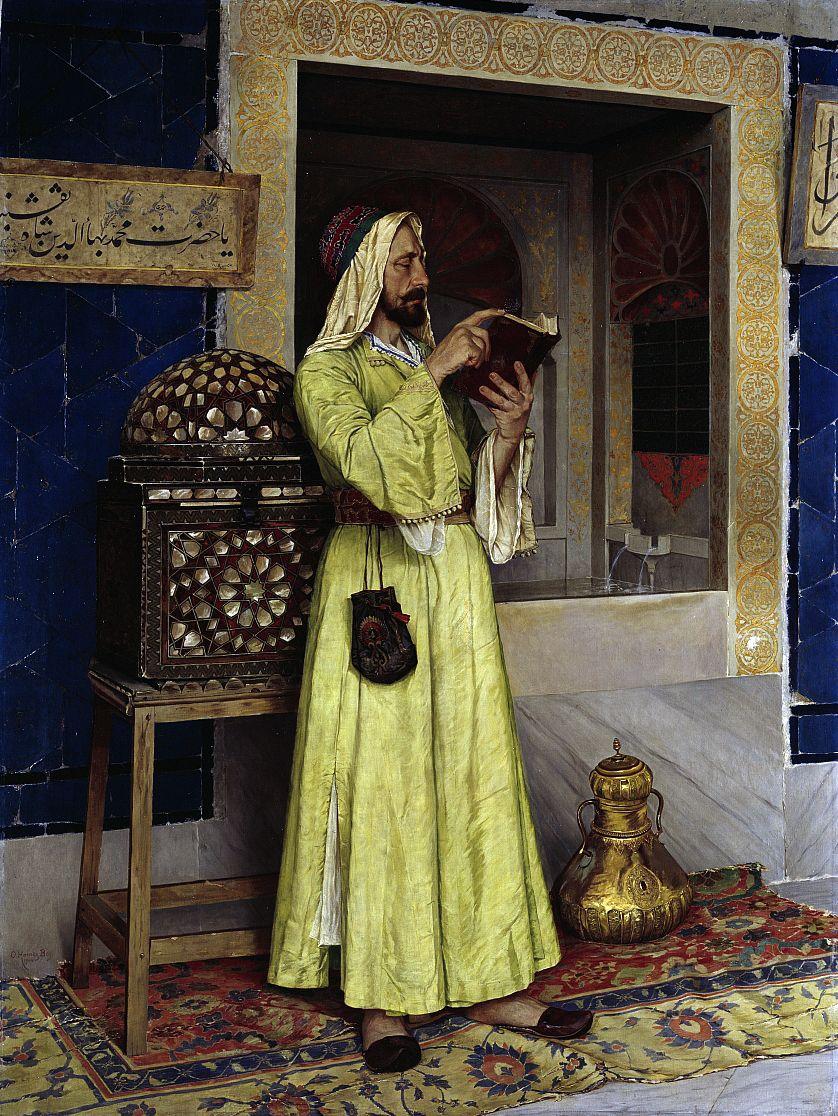 Osman Hamdi Bey, Lesender Araber / Der Wunderbrunnen. © Staatliche Museen zu Berlin, Nationalgalerie / Andres Kilger