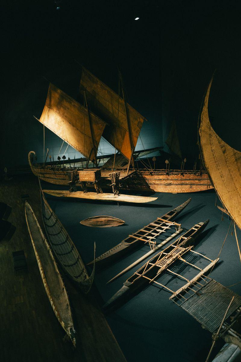 Die berühmten Südsee-Boote aus dem Ethnologischen Museum ziehen auch mit ins Humboldt Forum. Foto: Staatliche Museen zu Berlin / Daniel Hofer