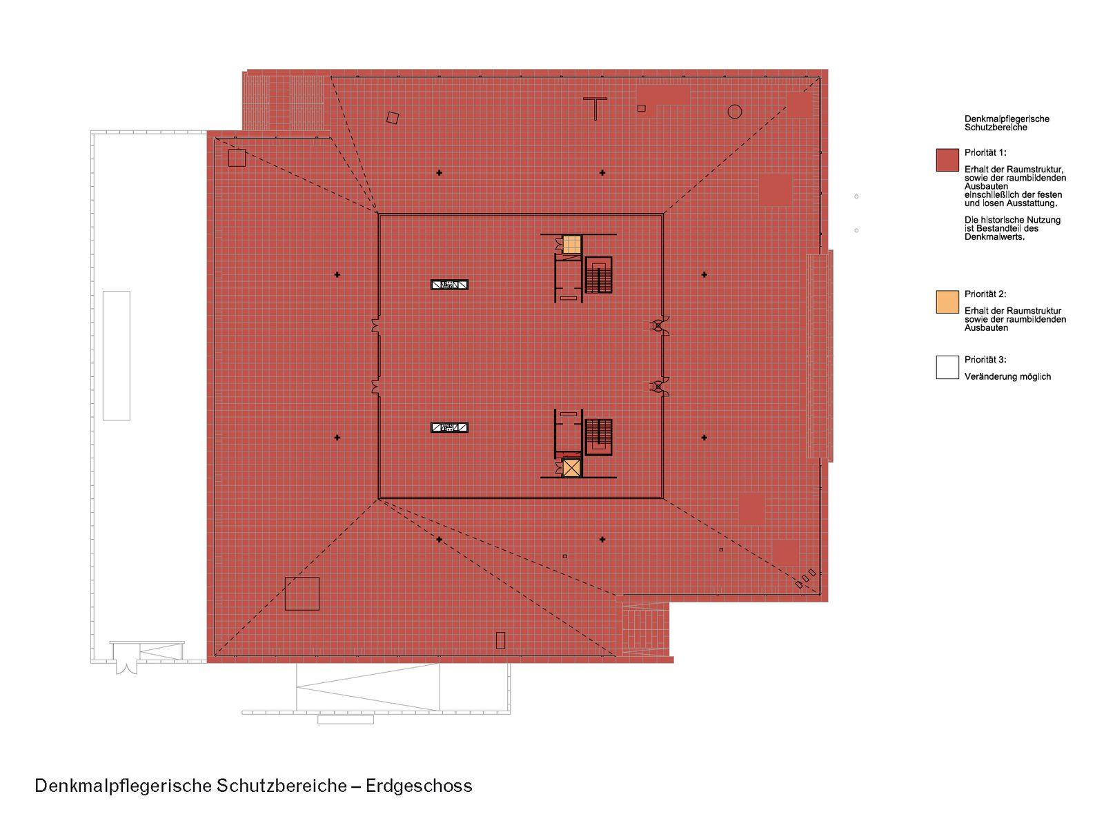 Denkmalpflegerischer Schutzbereich im Erdgeschoss der Neuen Nationalgalerie. (c) David Chipperfield Architects für Bundesamt für Bauwesen und Raumordnung (BBR)