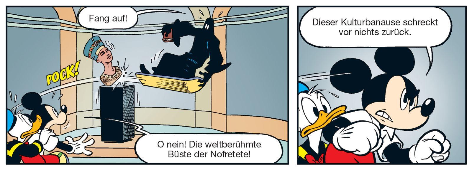 """Gastauftritt der Nofretete im Micky-Maus-Heft: """"Bei Donald Duck ist sie in guten Händen.""""  (c) Disney / Egmont Ehapa"""