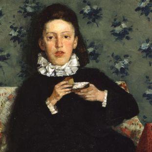 Detailansicht von Wilhelm Trübner: Auf dem Kanapee (1872) (c) bpk / Nationalgalerie, SMB / Jörg P. Anders