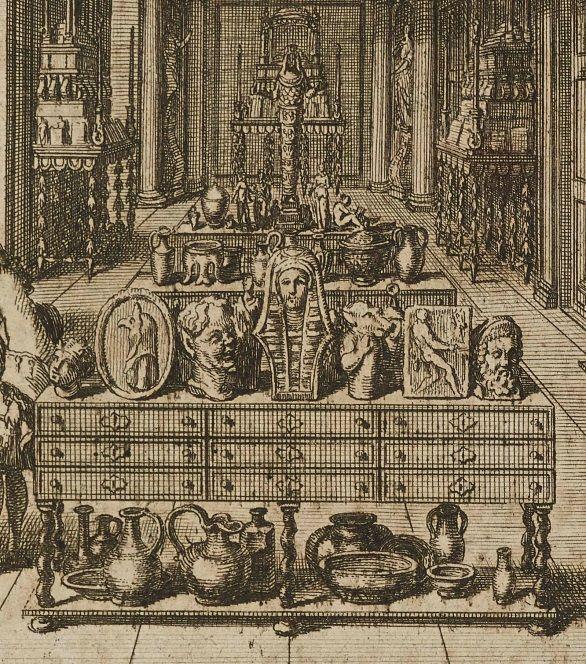 Detail aus der Ansicht des Münz- und Antikenkabinetts im Berliner Schloss um 1703. Kupferstich, aus: Lorenz Beger, Numismata Pontificum Romanorum, Berlin 1704. © Staatsbibliothek zu Berlin