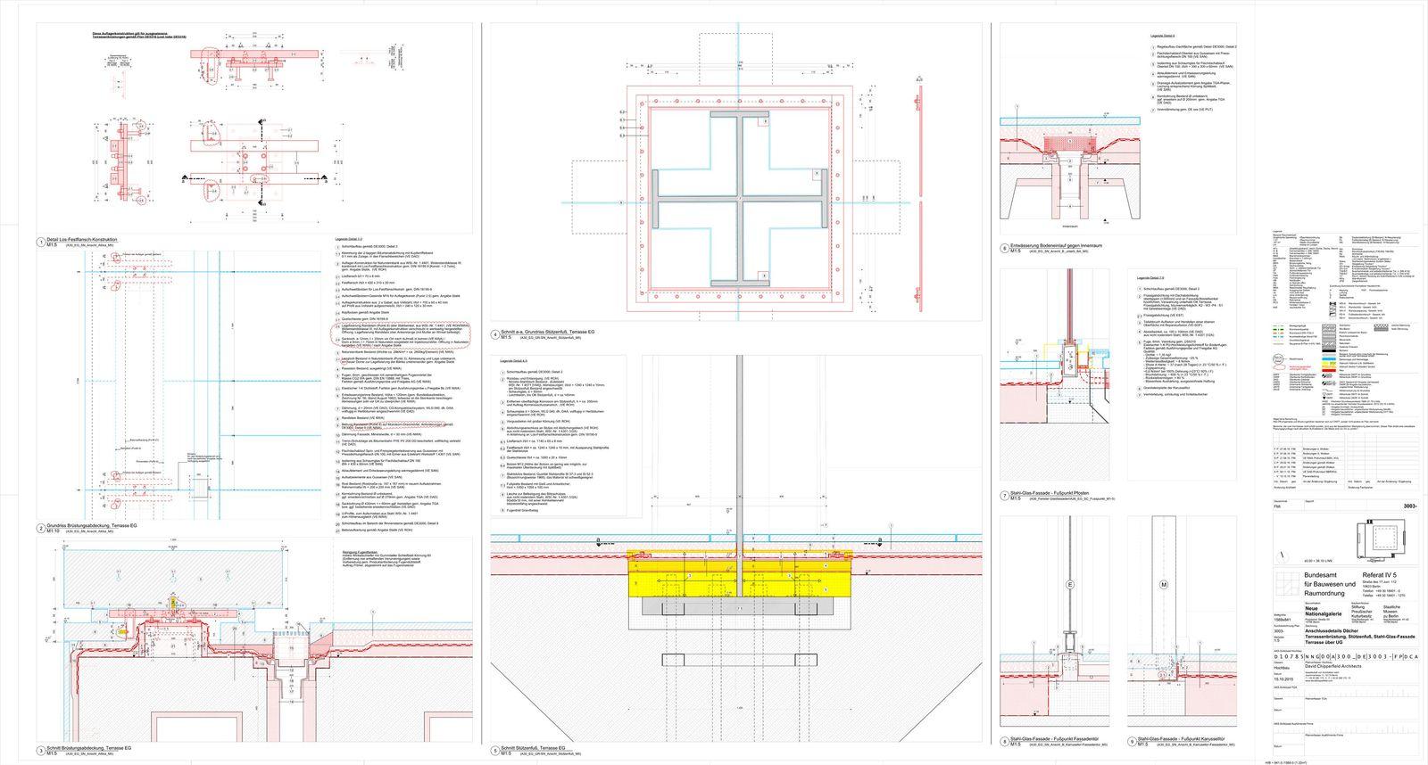 Anschlussdetails Dächer, Terrassenbrüstung, Stützenfuß, Stahl-Glas-Fassade, Terrasse über UG. © David Chipperfield Architects für Bundesamt für Bauwesen und Raumordnung (BBR)