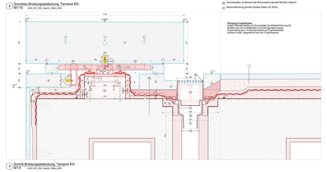 Brüstungsabdeckung © David Chipperfield Architects für Bundesamt für Bauwesen und Raumordnung (BBR)