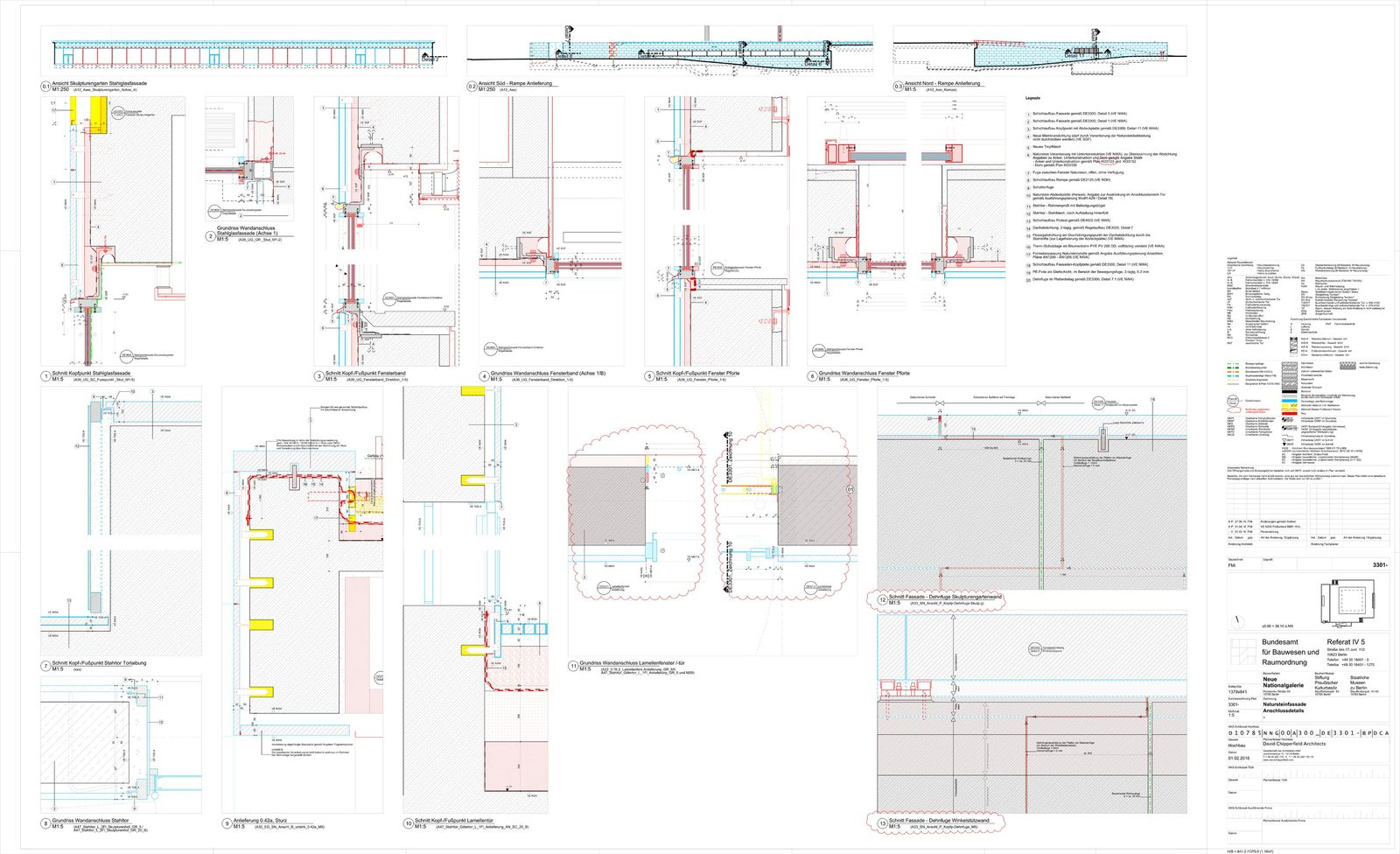 Natursteinfassade, Anschlussdetails © David Chipperfield Architects für Bundesamt für Bauwesen und Raumordnung (BBR)