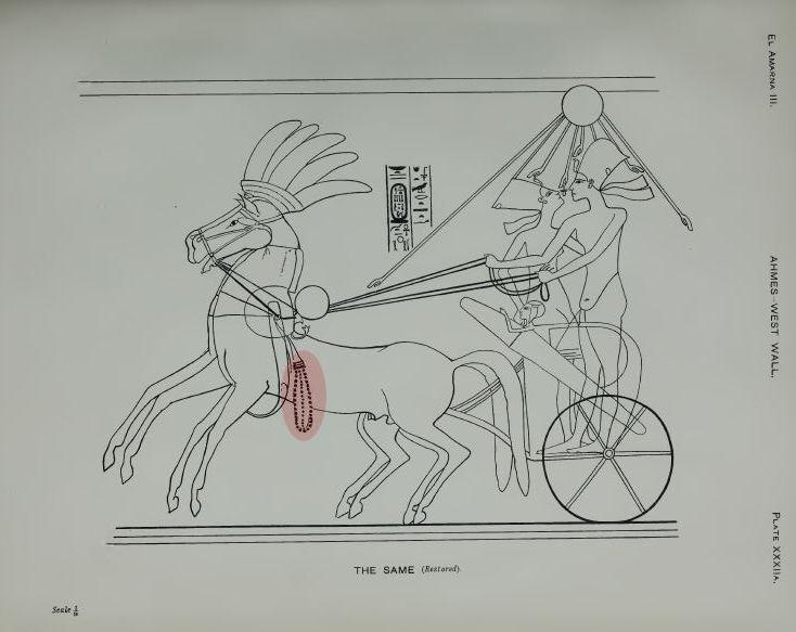 Amenophis IV. und Nofretete auf dem Streitwagen: das am Geschirr des Pferedes befestigete Jochgehänge ist rot markiert. (Abbildungs-Quelle: N. Davies, The Rock Tombs of El Amarna. Part III. The Tombs of Huya and AHmes (Archaeological Survey of Egypt. Fifteenth Memoir), London 1905, Pl. 32A.)
