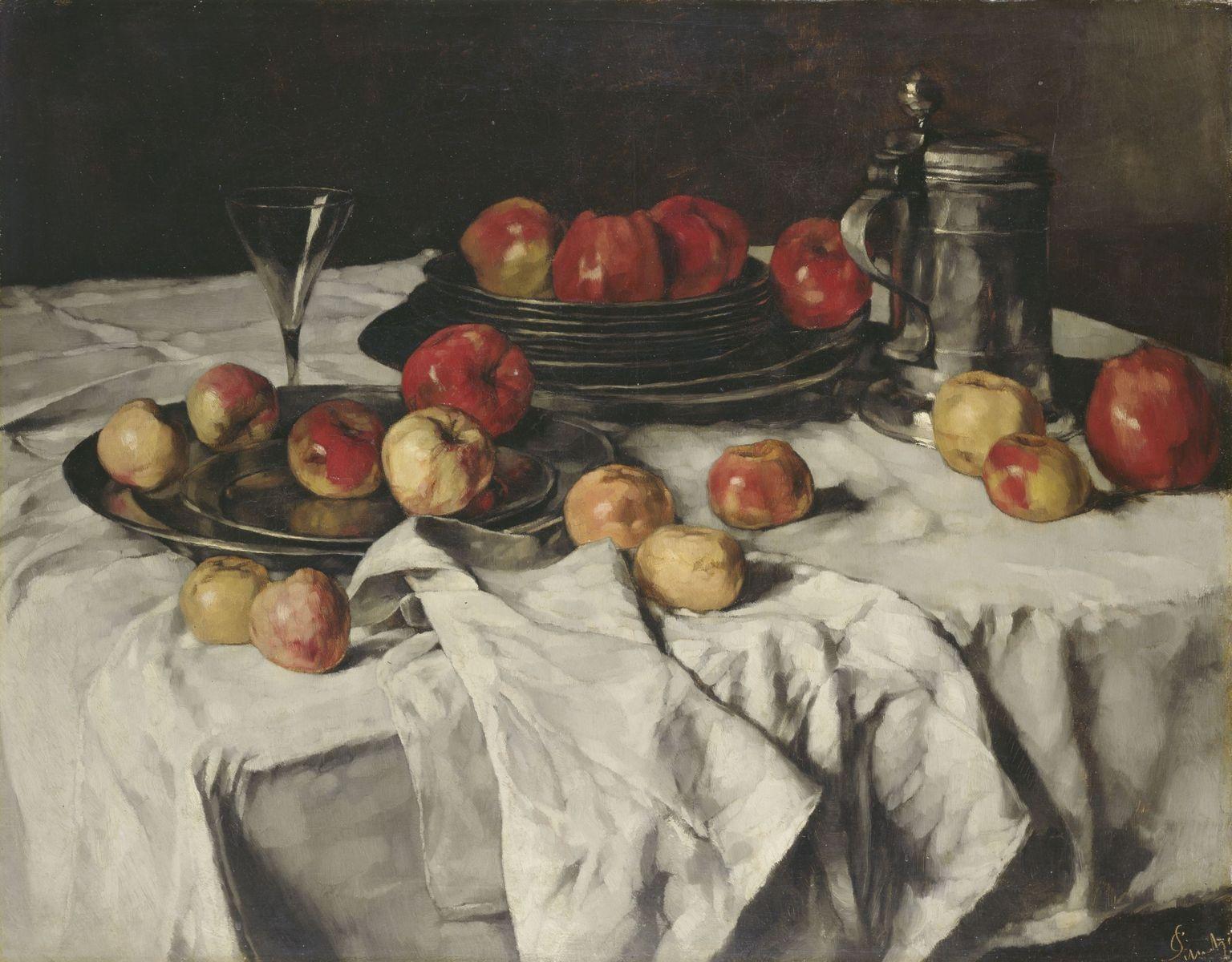 Carl Schuch: Stillleben mit Äpfeln (1876);  (c) bpk / Nationalgalerie, SMB / Andres Kilger