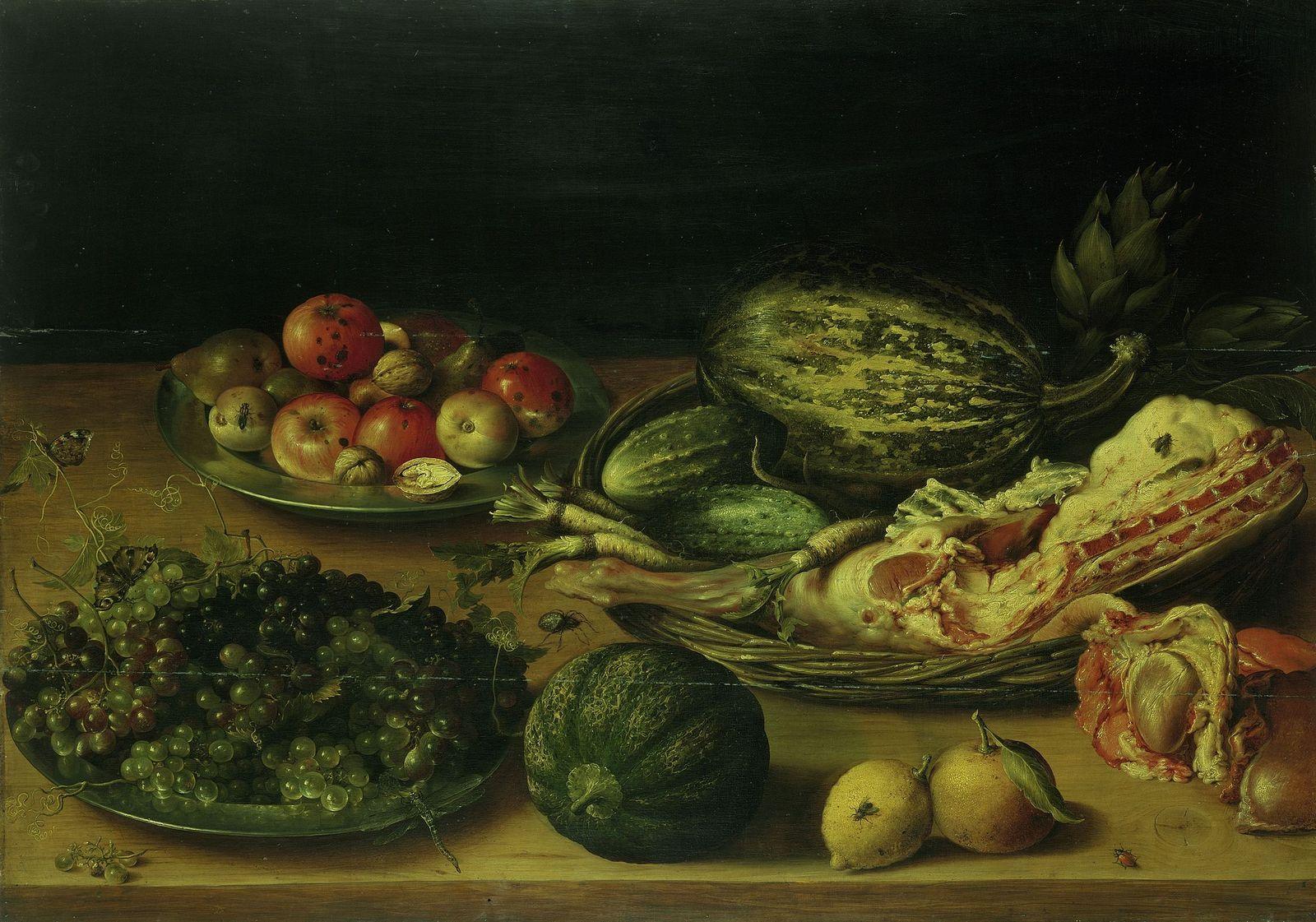 """Unbekannter Künstler: """"Stillleben mit Obst, Gemüse und Kalbskeule"""" (17. Jahrhundert, Niederlande);  (c) bpk / Gemäldegalerie, SMB"""