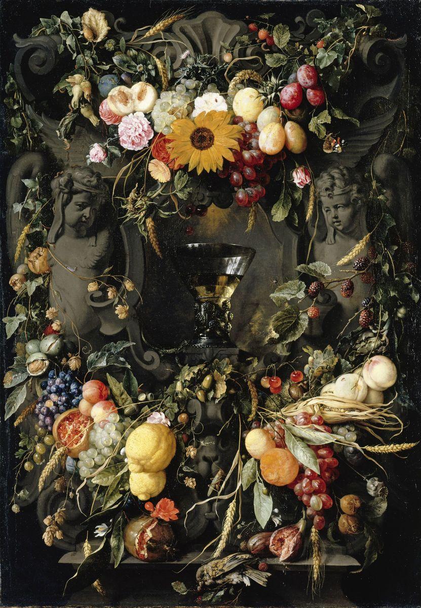 Jan Davidsz. de Heem: Früchte- und Blumenkartusche mit Weinglas (17. Jahrhundert); (c) bpk / Gemäldegalerie, SMB / Jörg P. Anders