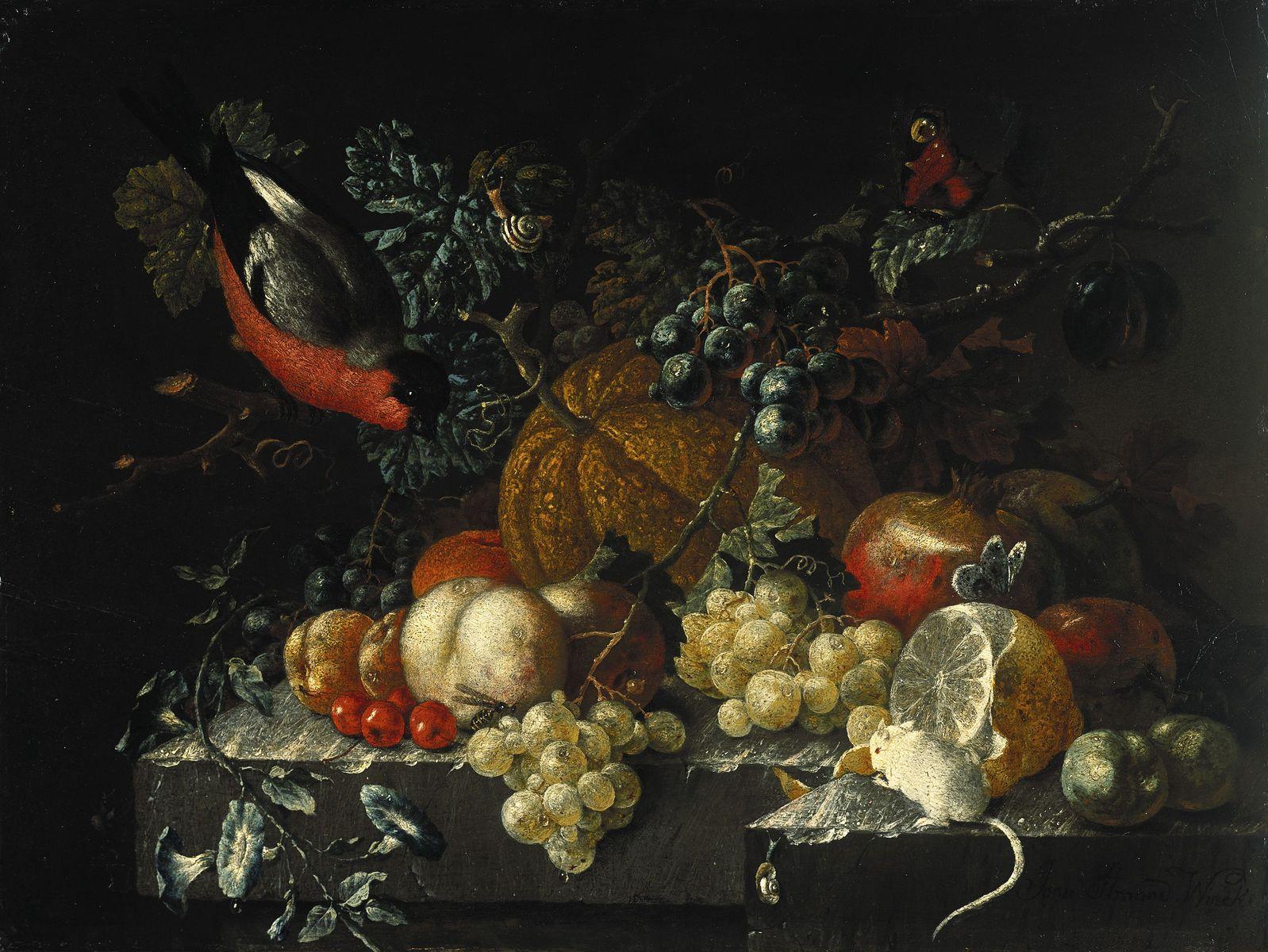"""Johann Amandus Winck: """"Stillleben mit Früchten, Blumen und Tieren (u.a. ein Dompfaff)"""" (ca. 1800);  (c) bpk / Gemäldegalerie, SMB / Jörg P. Anders"""