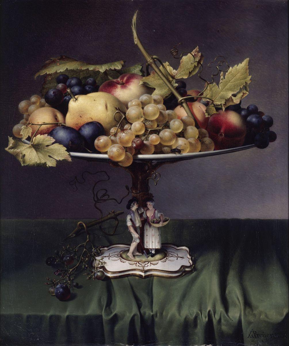 Johann Wilhelm Preyer: Früchte auf einer Porzellanschale<br /> (1832);  (c) bpk / Nationalgalerie, SMB / Jörg P. Anders