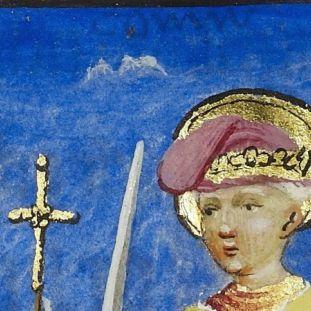 """Abb. 5: Erkennbare Schrift unter der blauen Malschicht: """"paus """" (links) und """"coninc """" (rechts). Es handelt sich, um eine Malanweisung für die Miniaturmaler, die an dieser Stelle einen Papst auf der linken Seite und einen König auf der rechten Seite, jeweils mit einem Schwert, zeichnen sollten (© Staatsbibliothek zu Berlin – Preußischer Kulturbesitz)."""