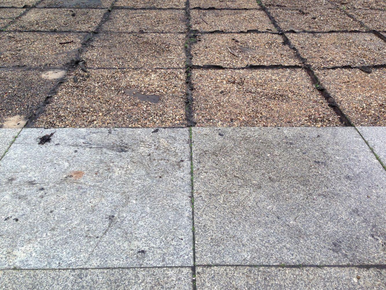 Der Terrassenbelag vor und nach der Demontage. Foto: BBR/ProDenkmal;