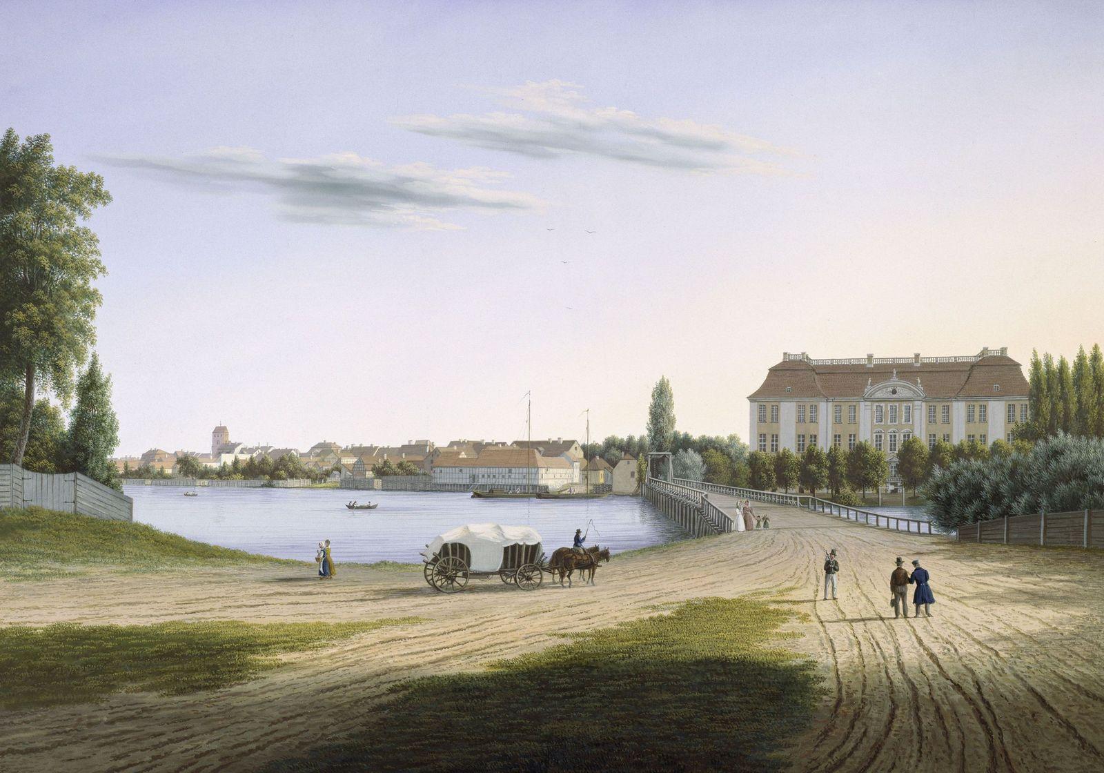Wilhelm Barth: Berlin. Ansicht von Köpenick mit Schloss und Schlossbrücke (um 1832). Copyright bpk / Kupferstichkabinett, SMB / Christa Begall