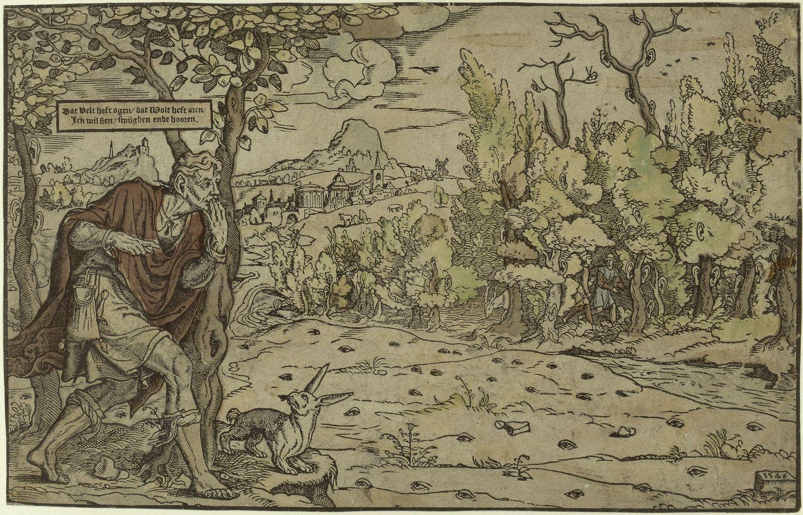 Unbekannter Stecher (Niederländisch), Das Feld hat Augen, der Wald hat Ohren, 1546, Holzschnitt, koloriert. © Kupferstichkabinett, Staatliche Museen zu Berlin / Foto: Jörg Anders