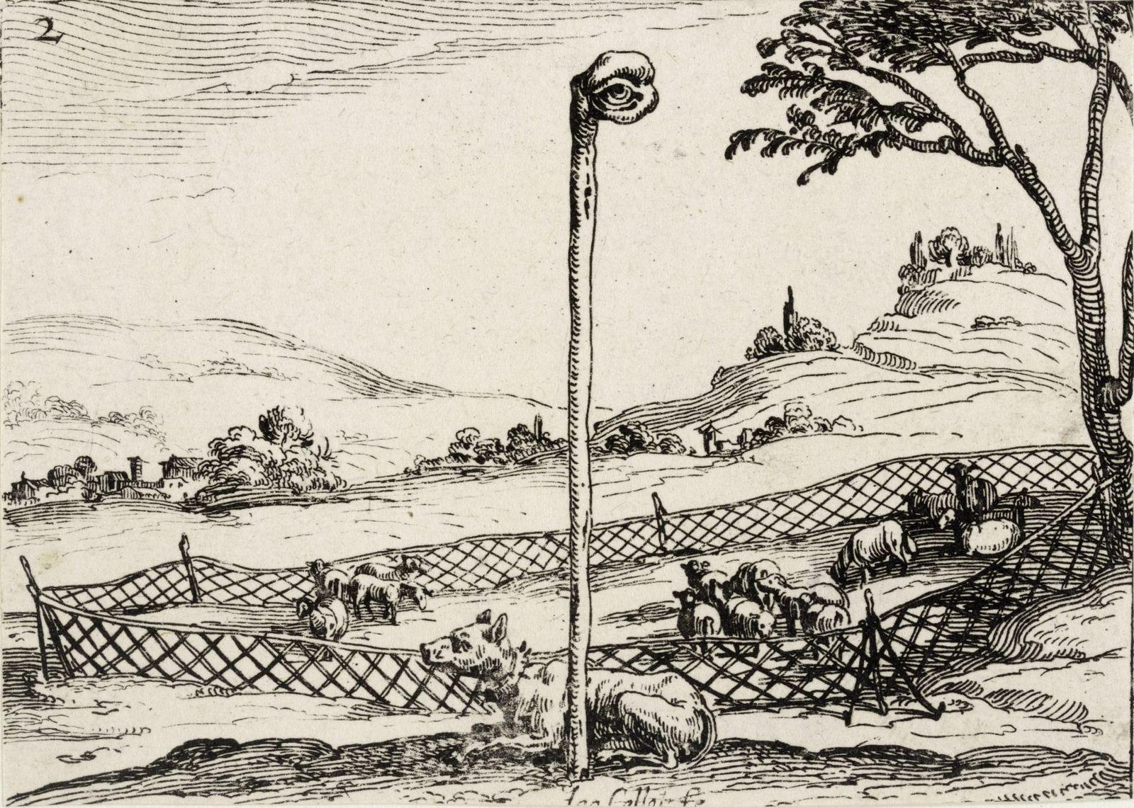 Jacques Callot, Le Ciel veille pour toy (Der Himmel wacht für Dich), 1628, Kupferstich. © Kupferstichkabinett, Staatliche Museen zu Berlin / Foto: Dietmar Katz