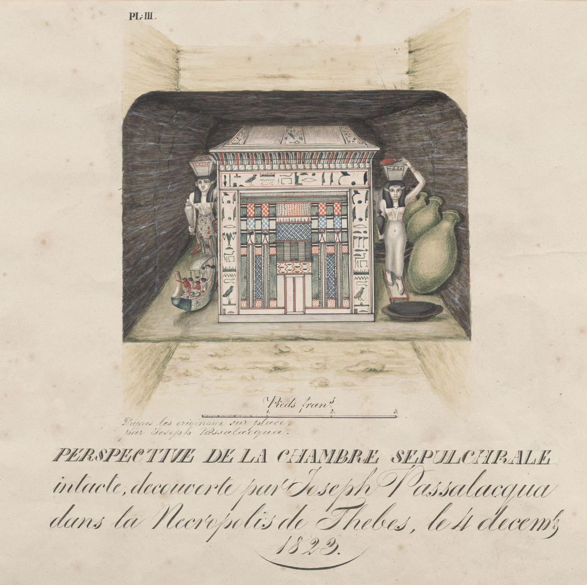 Funde im Grab des Mentuhotep in Theben. Im Jahr 1823 entdeckt und ausgegraben durch Passalacqua. Kolorierte Originalzeichnung von G. Passalacqua © Staatliche Museen zu Berlin, Ägyptisches Museum und Papyrussammlung Berlin, Dokumentenarchiv