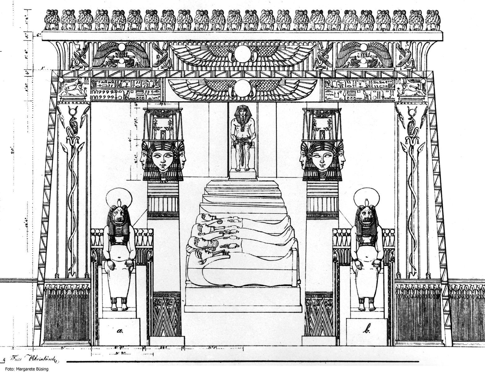 Passalacquas Entwurfszeichnung für die Innenausstattung des Neuen Museums von 1841 © Staatliche Museen zu Berlin, Ägyptisches Museum und Papyrussammlung Berlin, Dokumentenarchiv