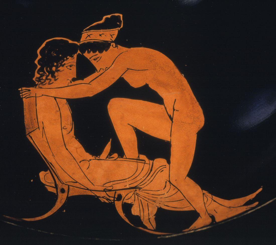 Erotische Szene auf einer Attischen Vase: Frau besteigt Mann; Schuwalow-Maler (3. Viertel 5. Jh.v.Chr.) © bpk / Staatliche Museen zu Berlin, Antikensammlung; Foto: Johannes Laurentius