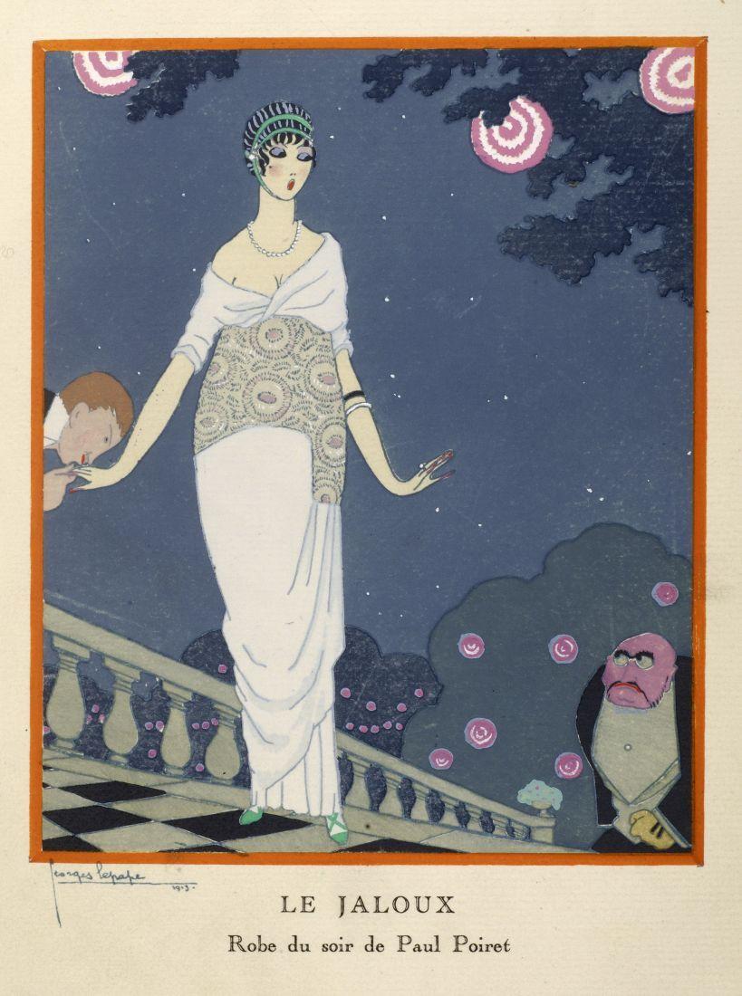 """""""Le jaloux / Robe du soir Paul Poiret"""" - nach einer Zeichnung von Georges Lepape (April 1913). © bpk / Staatliche Museen zu Berlin, Kunstbibliothek; Foto: Dietmar Katz"""