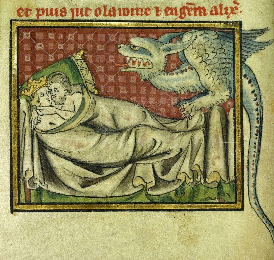 """""""Zeugung Alexanders"""", Pergament (1300-1325). © bpk / Staatliche Museen zu Berlin, Kupferstichkabinett; Foto: Volker H. Schneider"""