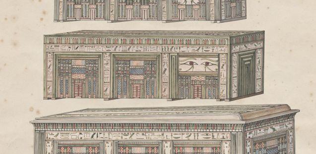 Die drei Särge des Mentuhotep. Kolorierte Originalzeichnung von G. Passalacqua © Staatliche Museen zu Berlin, Ägyptisches Museum und Papyrussammlung Berlin, Dokumentenarchiv