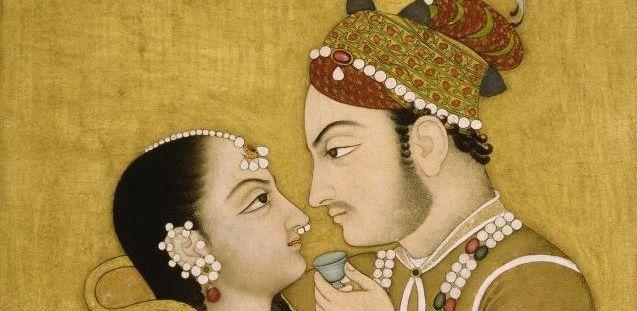 Liebespaar, Indische Miniatur (Spätmoghulzeit). © bpk / Staatliche Museen zu Berlin, Museum für Islamische Kunst