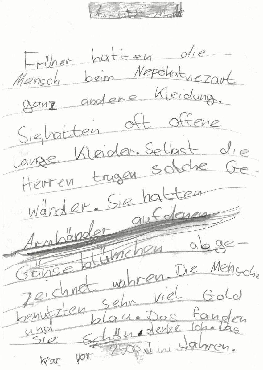 Report Emilia, 8 Jahre, zu ihren Eindrücken in der Ausstellung im Vorderasiatischen Museum zum sogenannten Palastraum. Foto: Sabine Böhme, weiterbearbeitet von Anke Fischer