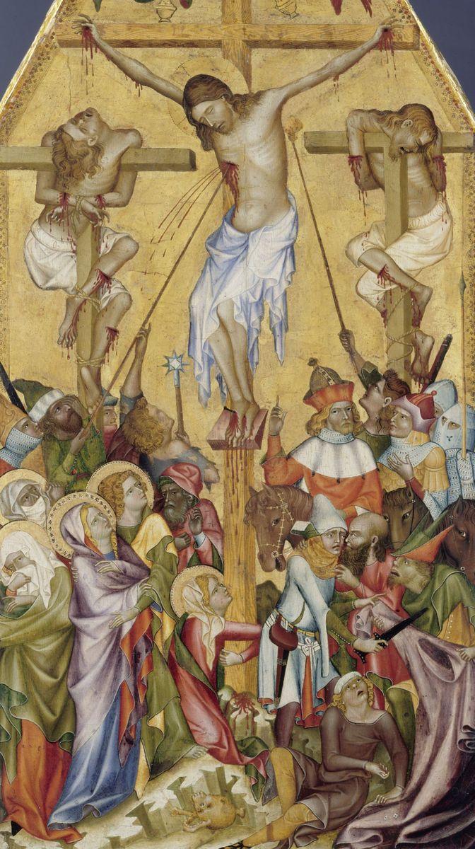 Böhmischer Meister: Die Kreuzigung Christi (Kaufmannsche Kreuzigung), um 1350 © bpk / Gemäldegalerie, SMB / Jörg P. Anders