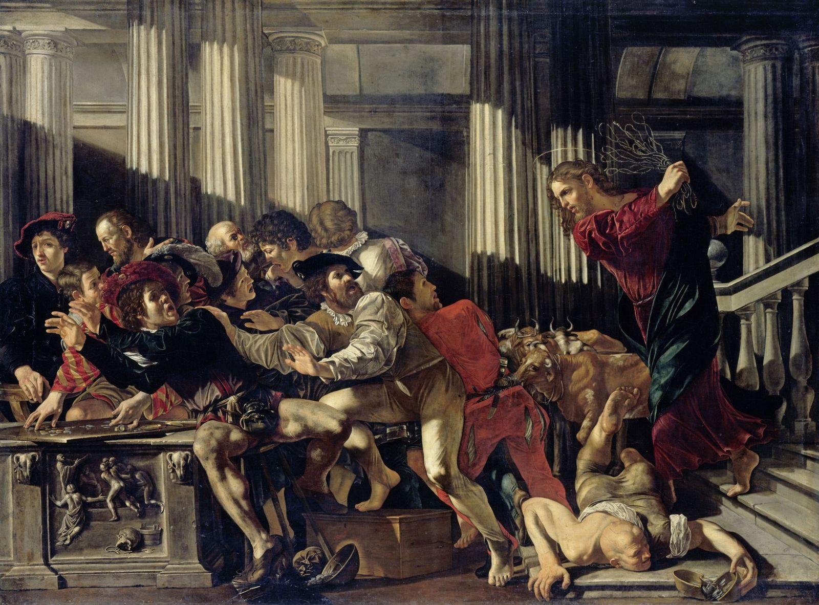 Francesco Boneri: Die Austreibung der Wechsler aus dem Tempel, um 1610 © bpk / Gemäldegalerie, SMB / Jörg P. Anders